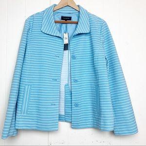 Talbots Blue & White Striped pointe knit jacket